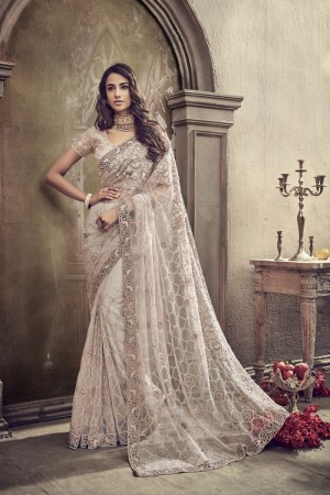 Ivory Net Saree with Blouse