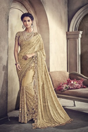 Light Yellow Net Saree with Blouse