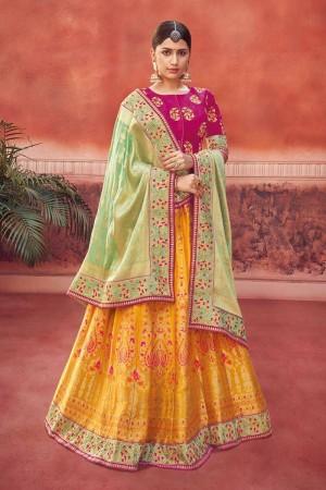 Yellow Banarasi Lehenga Choli