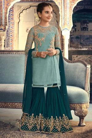 Teal Green Net Salwar Kameez