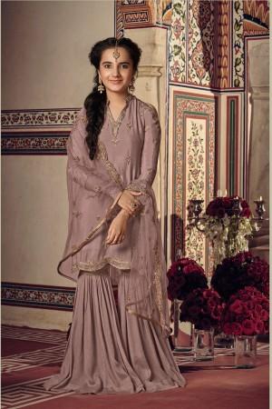 Dusty Pink Rangoli Georgette Salwar Kameez