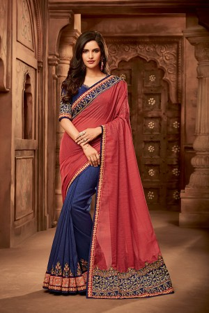 Peach & Blue Satin Georgette Saree with Blouse
