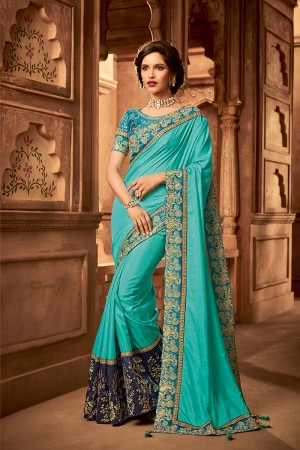 Sky Blue Satin Georgette Saree with Blouse