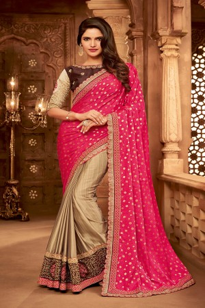 Pink&Chiku Satin Georgette Saree with Blouse