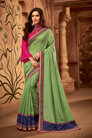 Liril Green Satin Georgette Saree with Blouse