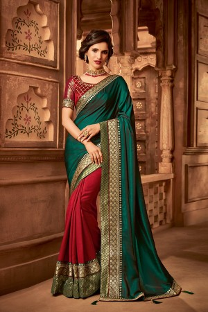 Sea Green& Red Satin Georgette Saree with Blouse