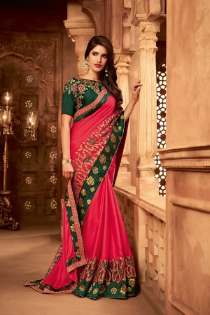 Dark Pink Satin Georgette Saree with Blouse
