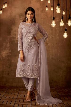 Lavender Net Salwar Kameez
