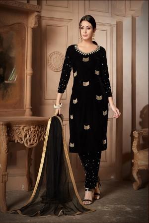 Black Velvet Salwar Kameez