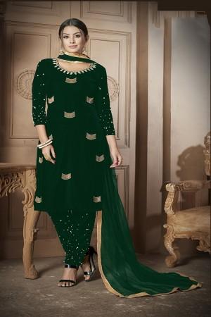 Green Velvet Salwar Kameez