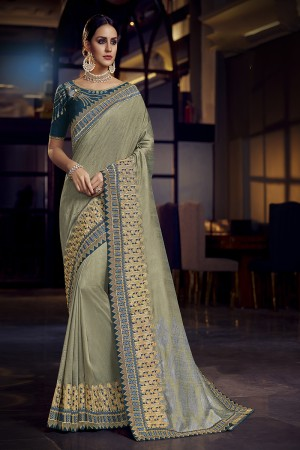 Olive Green Satin Georgette Saree with Blouse