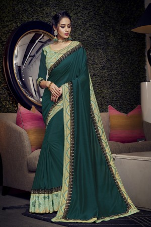 Teal Satin Georgette Saree with Blouse