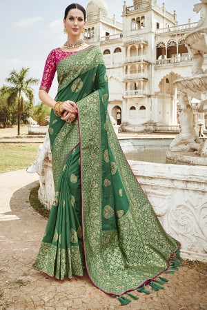 Green Silk Saree with Blouse