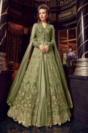 Green Premium Net Salwar Kameez