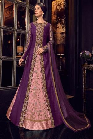 Pink & Purple Handloom Tusser Silk & Net Salwar Kameez