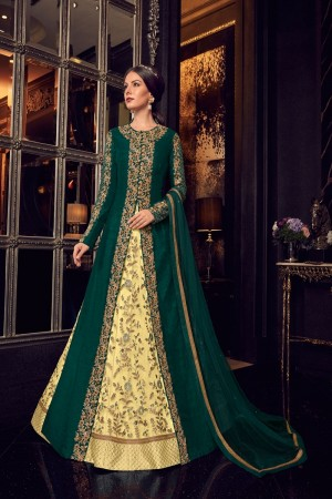 Yellow & Dark Green Handloom Tusser Silk & Net Salwar Kameez