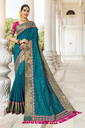 Ocean Silk Saree with Blouse