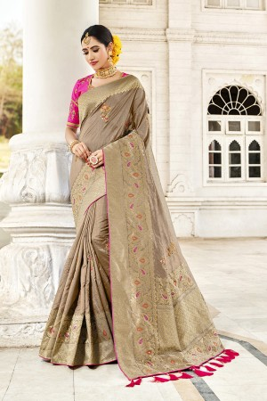 Beige Silk Saree with Blouse