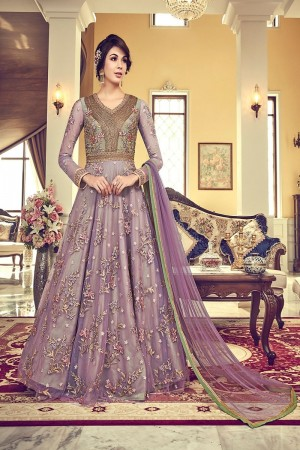 Purple Premium Net Salwar Kameez