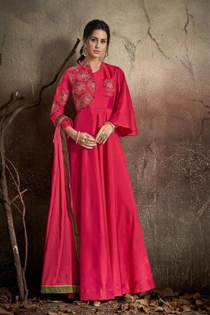 Dark Pink Soft Taffeta Silk Salwar Kameez