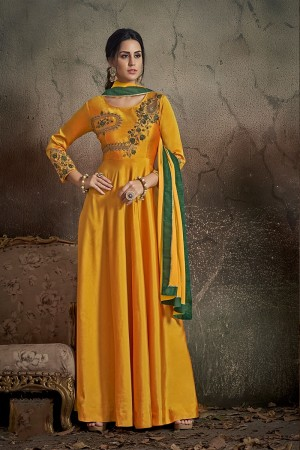 Golden Yellow Soft Taffeta Silk Salwar Kameez