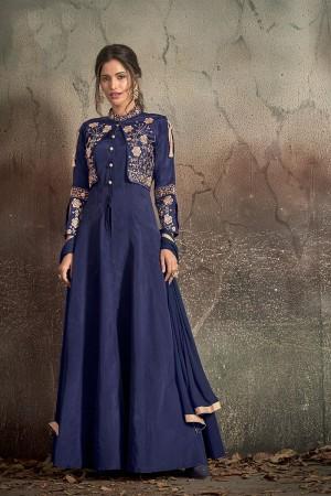 Blue Soft Taffeta Silk Salwar Kameez