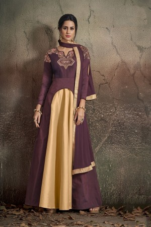 Mulberry & Cream Soft Taffeta Silk Salwar Kameez