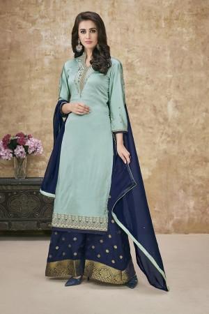Sky Blue Satin Georgette Salwar Kameez
