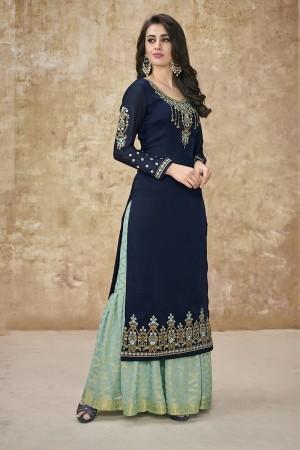 Blue Satin Georgette Salwar Kameez
