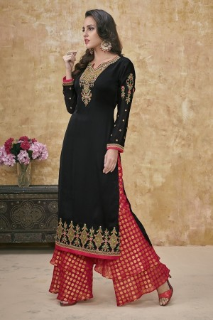 Black Satin Georgette Salwar Kameez