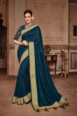 Ocean Satin Georgette Saree with Blouse