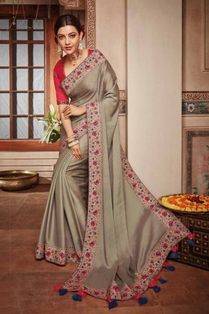 Beige Satin Georgette Saree with Blouse