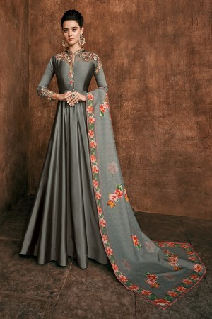 Grey Heavy Soft Silk Salwar Kameez