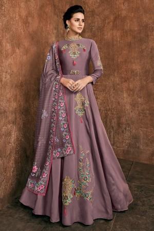 Lavender Heavy Soft Silk Salwar Kameez
