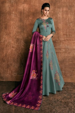 Teal Heavy Soft Silk Salwar Kameez