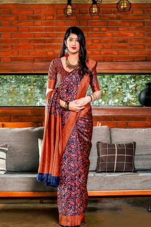 Blue & Orange Banarasi Silk Saree with Blouse