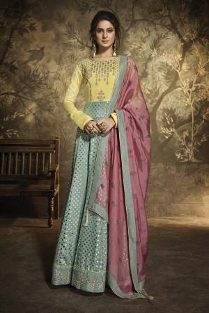 Jennifer Pista Green & Pink Silk Salwar Kameez