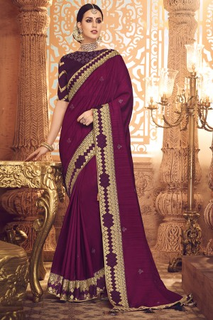 Magenta Satin Georgette Saree with Blouse