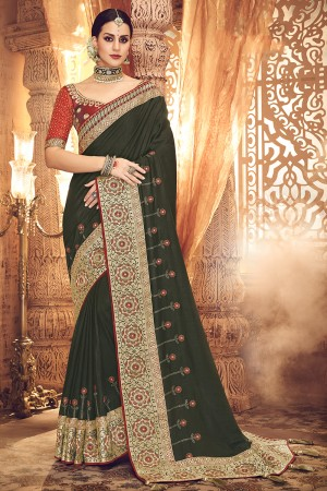 Pine Satin Georgette Saree with Blouse