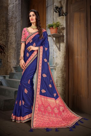 Blue & Peach Art Silk Saree with Blouse