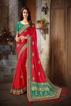 Red & Turquoise Art Silk Saree with Blouse