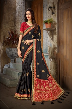 Black & Red Art Silk Saree with Blouse