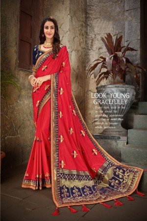 Red & Blue Art Silk Saree with Blouse