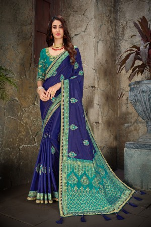 Blue & Turquoise Art Silk Saree with Blouse