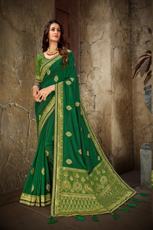 Green & Parrot Green Art Silk Saree with Blouse