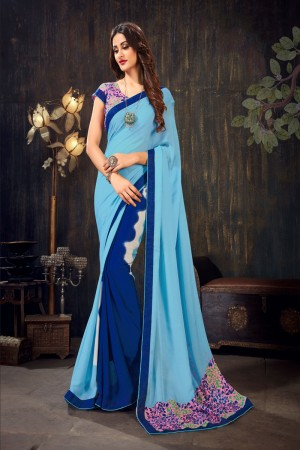 Sky Blue&Blue Moss Chiffon Saree with Blouse