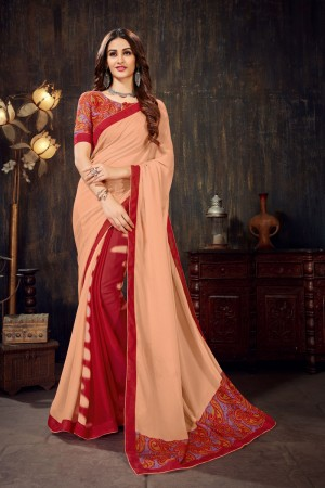 Peach&Red Moss Chiffon Saree with Blouse