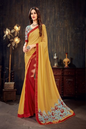 Beige&Red Moss Chiffon Saree with Blouse