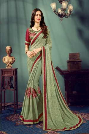 Grey Chiffon Saree with Blouse