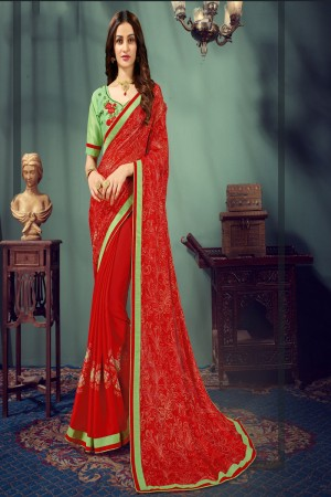 Red Chiffon Saree with Blouse